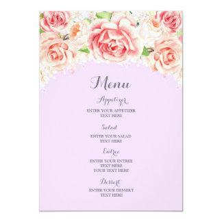 Menu roxo floral do casamento da aguarela convite 12.7 x 17.78cm