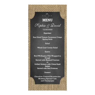 Menu rústico do casamento de serapilheira do 10.16 x 22.86cm panfleto