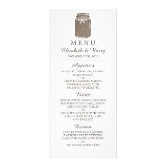 Menu rústico do casamento do frasco de pedreiro de 10.16 x 22.86cm panfleto