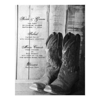 Menu rústico do casamento do país das botas modelos de panfleto