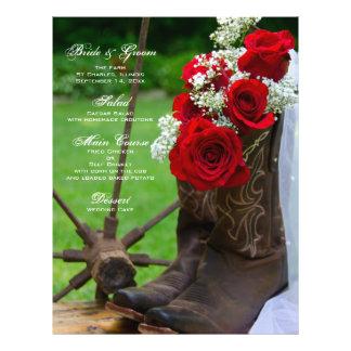 Menu rústico do casamento do país dos rosas panfletos coloridos