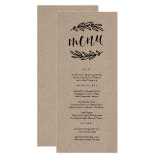 Menu rústico do comensal convite 10.16 x 23.49cm
