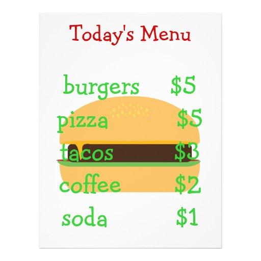 Menu temático do hamburguer simples editável modelo de panfleto