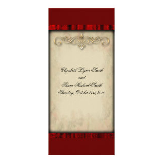 Menu vermelho do casamento do gótico da seda e do  10.16 x 22.86cm panfleto