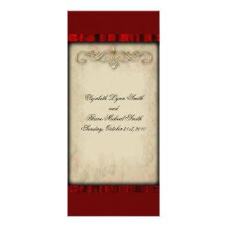 Menu vermelho do casamento do gótico da seda e do  panfleto informativo personalizado