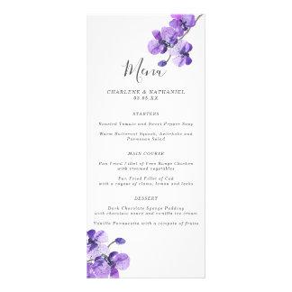 Menu violeta do casamento da orquídea da aguarela