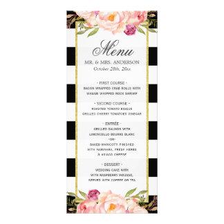 Menu | Wedding listrado branco preto floral 10.16 X 22.86cm Panfleto