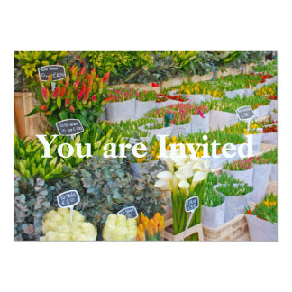 Mercado da tulipa e da flor em Amsterdão Convite 11.30 X 15.87cm
