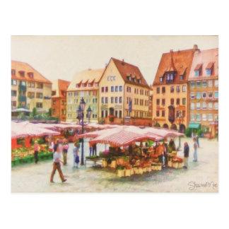 Mercado de Nuremberg em Alemanha pelo Mac de Cartão Postal