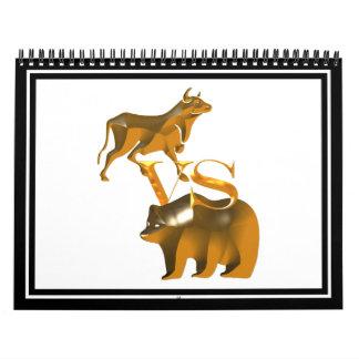 Mercado em alta contra o mercado de urso calendário