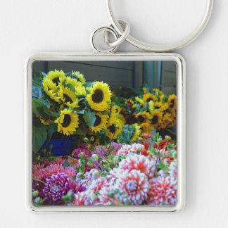 Mercado floral chaveiro quadrado na cor prata