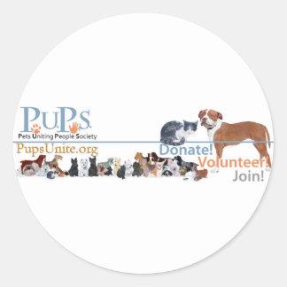 Mercadoria do logotipo dos filhotes de cachorro adesivo redondo