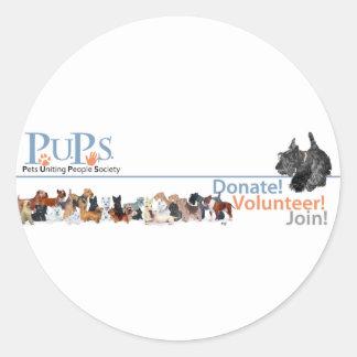 Mercadoria do logotipo dos filhotes de cachorro adesivos redondos