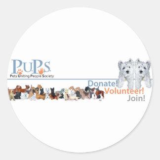 Mercadoria do logotipo dos filhotes de cachorro co adesivos redondos