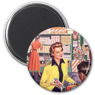 Mercearia retro que compra presentes felizes do cl ímã redondo 5.08cm