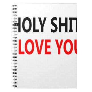 Merda santamente eu te amo (1) caderno espiral