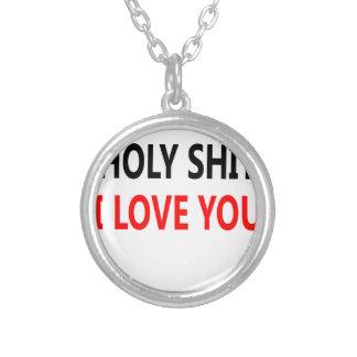 Merda santamente eu te amo (1) colar banhado a prata