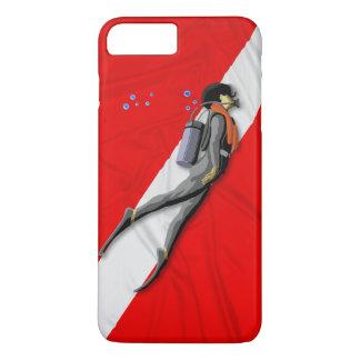 Mergulhador e bandeira do mergulho capa iPhone 7 plus