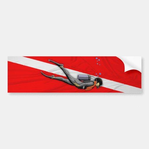 Mergulhador e bandeira enrugada do mergulho adesivos