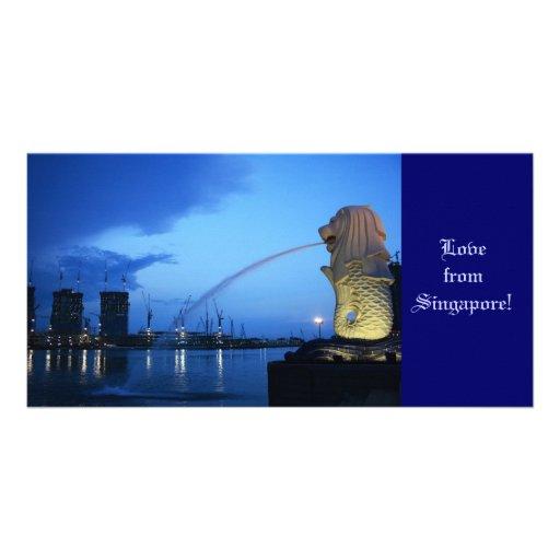 Merlion, amor de Singapore! Cartao Com Fotos Personalizado