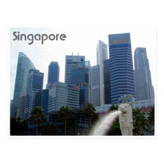 merlion da cidade de singapore cartao postal