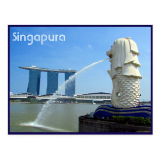 merlion do casino do singapura cartão postal