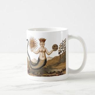Merman com Sun e caneca de café da lua