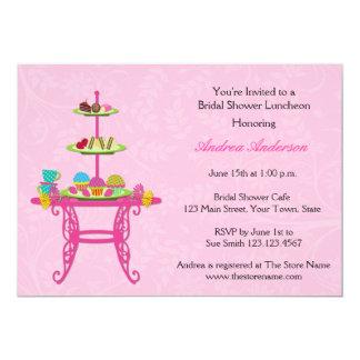 Mesa da sobremesa, rosa, chá de panela convite