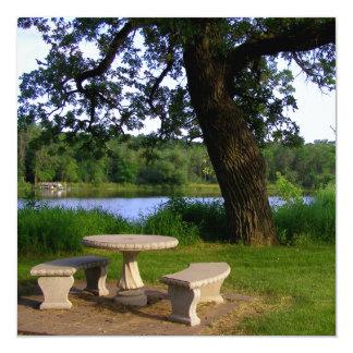 Mesa de piquenique sob uma árvore velha perto do