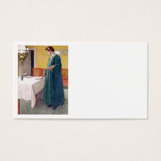 Mesa do ajuste da mulher para a refeição cartão de visitas