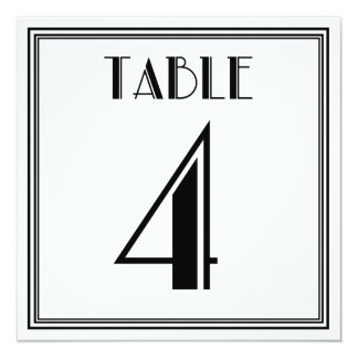 Mesa número 4 do art deco convite quadrado 13.35 x 13.35cm