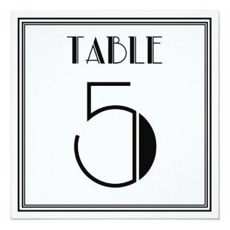 Mesa número 5 do art deco convite quadrado 13.35 x 13.35cm