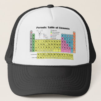 Mesa periódica do boné do camionista dos elementos