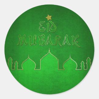 Mesquita do ouro verde de Eid Mubarak - etiqueta