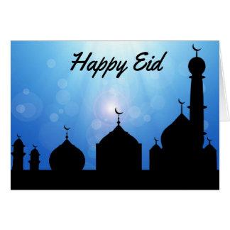 Mesquita feliz com Sunrays - cartão de Eid