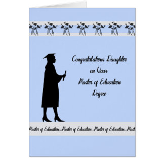 Mestre do cartão do grau da educação para a filha