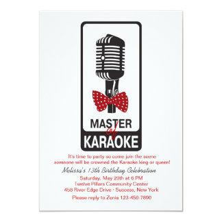 Mestre do convite de aniversário do karaoke