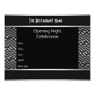 Metal da prata do preto da noite da inauguração do convites personalizado
