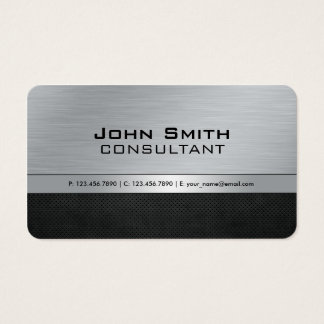Metal de prata preto moderno elegante profissional cartão de visitas