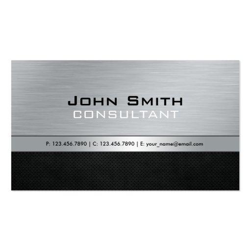 Metal de prata preto moderno profissional elegante cartao de visita