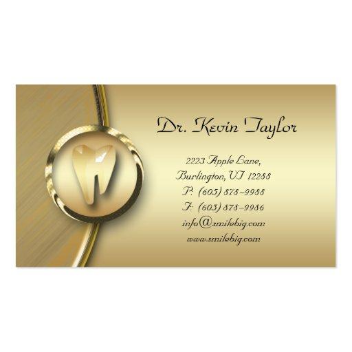 Metal dental do ouro do cartão de visita do Molar