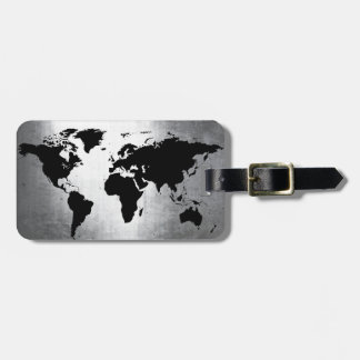 Metal do mapa do mundo etiqueta de bagagem