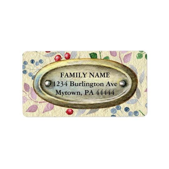 Metal do vintage no pergaminho floral etiqueta de endereço