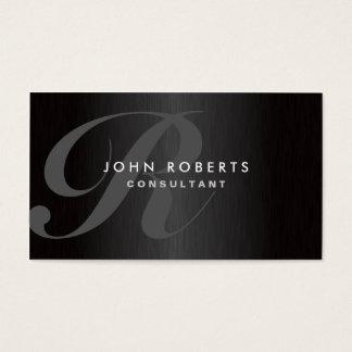 Metal escovado moderno elegante do monograma cartão de visitas