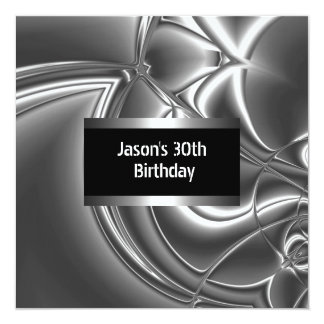 Metal homens brancos pretos 30os da prata do convite quadrado 13.35 x 13.35cm