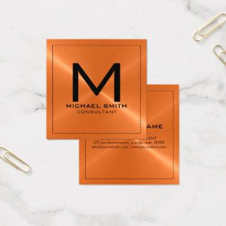 Metal inoxidável alaranjado moderno elegante do cartão de visitas quadrado