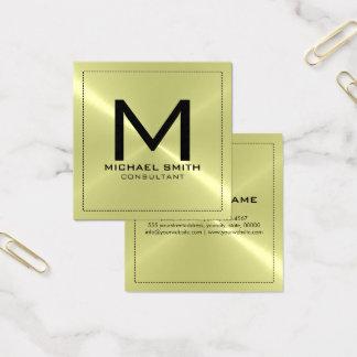 Metal inoxidável moderno elegante do monograma cartão de visitas quadrado