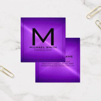 Metal inoxidável roxo moderno elegante do cartão de visitas quadrado