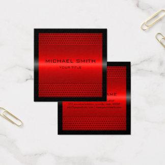 Metal inoxidável vermelho elegante feito sob cartão de visitas quadrado