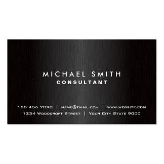 Metal moderno preto liso profissional elegante cartao de visita